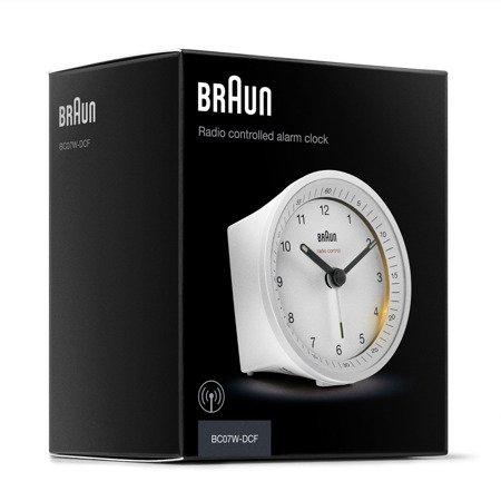 Budzik BRAUN sterowany RADIOWO podświetlenie drzemka 8 cm BC07WH-RC
