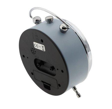 Budzik JVD SREBRNO-SZARY alarm 11 cm SRP2619.1