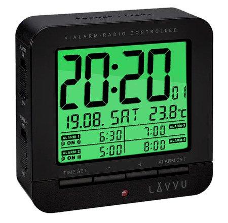 Budzik LAVVU STEROWANY RADIOWO 4 alarmy TERMOMETR LAR0011