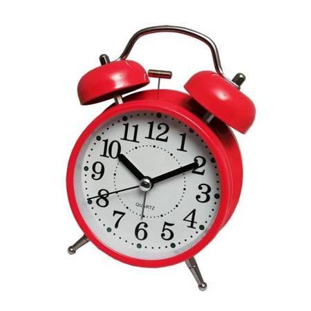 Budzik biurkowy czerwony metal  BELL ALARM ATB045R