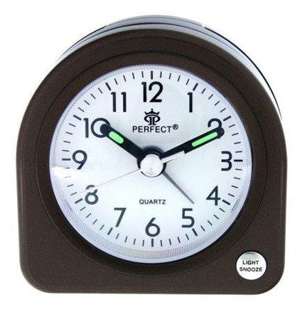 Budzik brązowy podświetlenie alarm narastający mały PE A266 C2 Brown