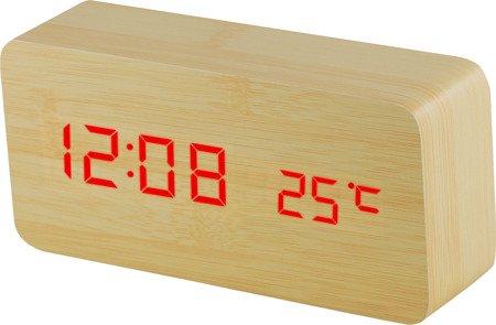 Budzik cyfrowy drewniany termometr 3 alarmy C02.3564.51