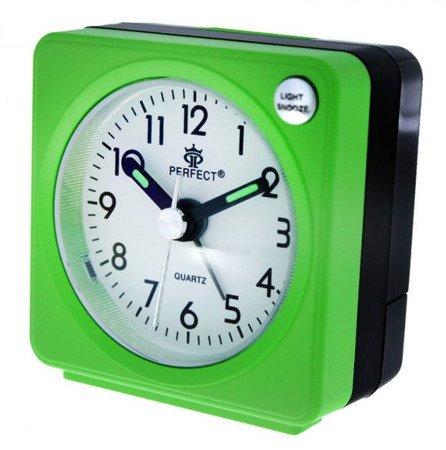 Budzik zielony podświetlenie alarm narastający mały Perfect A219 C2 Green