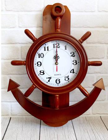 Drewniany zegar ścienny KOTWICA  SN54477