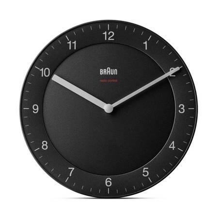 Zegar Braun ścienny czarny RADIOWY 20 cm BC06B-RC