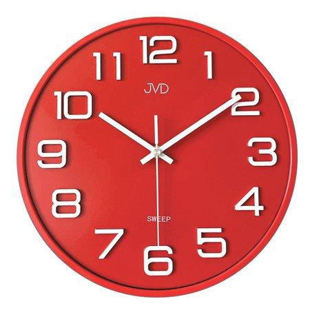 Zegar JVD ścienny 31 cm CICHY czerwony HX2472.6