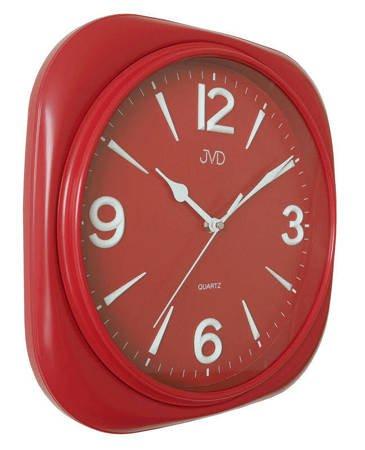 Zegar JVD ścienny CICHY czerwony czytelny HX2444.3