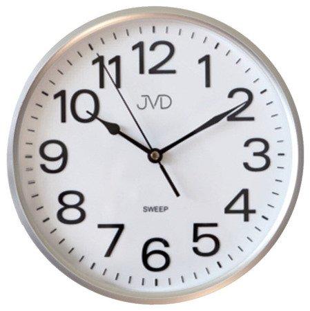 Zegar JVD ścienny CICHY czytelny srebrny HP683.1