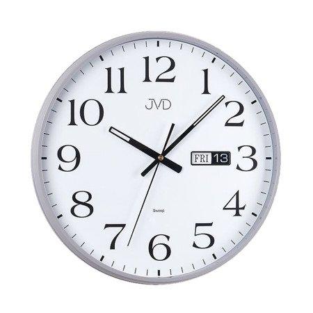 Zegar JVD ścienny CICHY datownik srebrny HP671.2