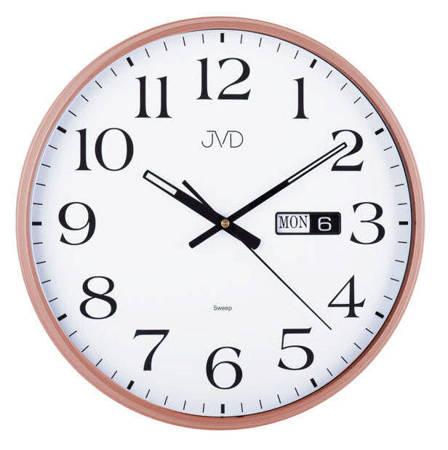 Zegar JVD ścienny CICHY datownik złoty HP671.5