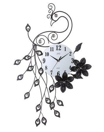 Zegar JVD ścienny PAW kryształki stal duży nowy design HJ87
