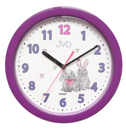 Zegar JVD ścienny dziecięc fioletowy 25cm HP612.D2