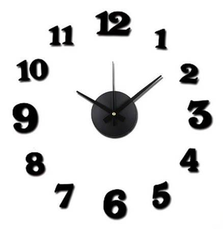 Zegar ŚCIENNY naklejany czarny 50 cm E01.3508.90
