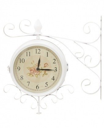 Zegar ścienny dworcowy, dwustronny retro biały 57398
