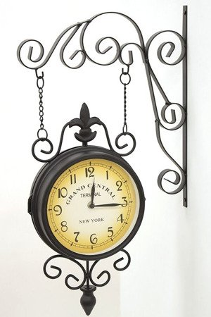 Zegar dworcowy dwustronny retro duży New York 65334