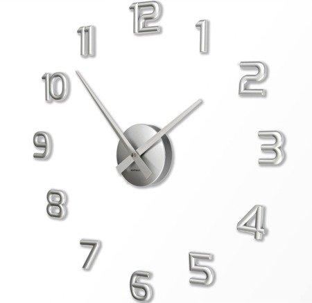 Zegar naklejany srebrny CAŁE CYFRY 60cm HS-732S