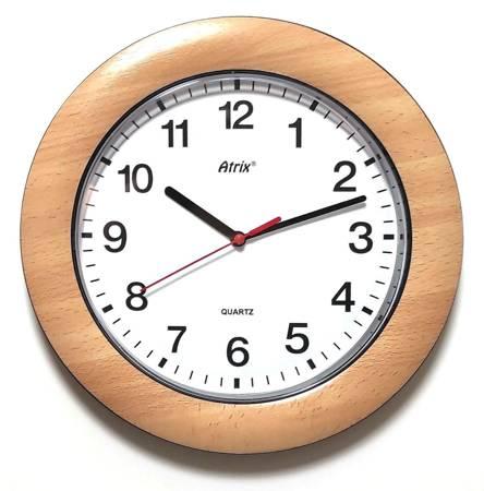 Zegar ścienny DREWNOPODOBNY brązowy cichy T1217B