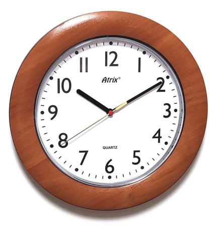 Zegar ścienny DREWNOPODOBNY brązowy cichy T1217C