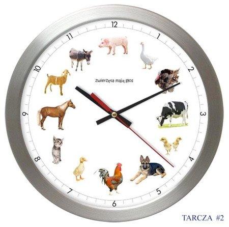 Zegar ścienny GŁOSY ZWIERZĄT cichy AS028ZM T2 SW