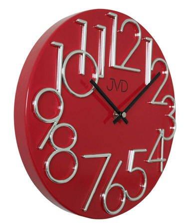 Zegar ścienny JVD nowoczesny METAL czerwony HT23.7