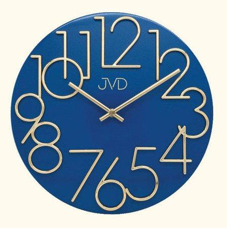 Zegar ścienny JVD nowoczesny METAL złoto-niebieski HT23.3