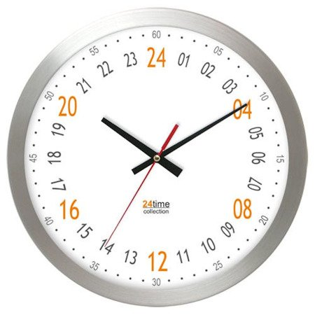 Zegar ścienny aluminium 24-godzinny średni AL2412H24A-1