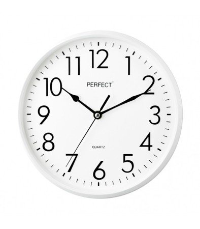 Zegar ścienny biały nowoczesny czytelny tworzywo FX-5742 White