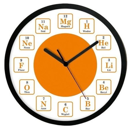 Zegar ścienny chemiczny pierwiastki  średni ATE2013CH2 BK