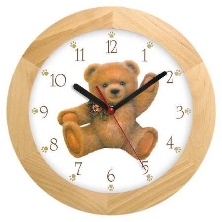 Zegar ścienny dla dzieci MIŚ drewno ATW300M1 JESSW
