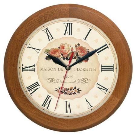 Zegar ścienny drewniany RÓŻE cichy ATW301KW JD SW