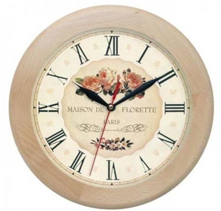 Zegar ścienny drewniany RÓŻE cichy ATW301KW JES SW