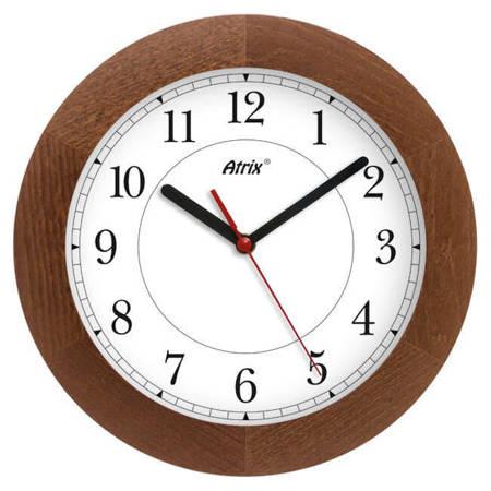 Zegar ścienny drewniany ciemny dąb 30cm czytelny