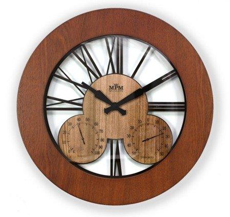 Zegar ścienny drewniany temp. wilgotność duży E07.3664.5251