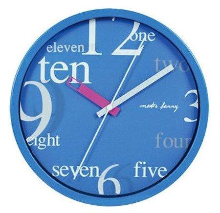Zegar ścienny dziecięcy niebieski cichy 9168 Blue
