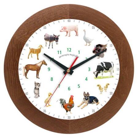 Zegar ścienny głosy zwierząt DREWNO ATW300ZW1 CDSW