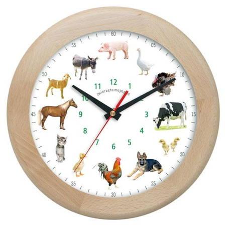 Zegar ścienny głosy zwierząt DREWNO ATW301ZW1 JES