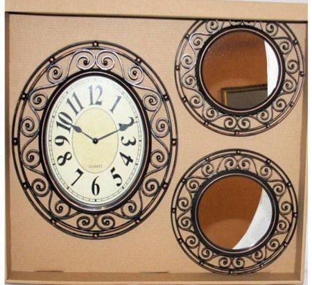 Zegar ścienny i 2 lustra czarna ozdoba retro 874