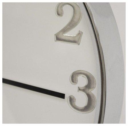 Zegar ścienny metalowy srebrny nowoczesny elegancki  średni 103757