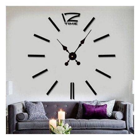 Zegar ścienny naklejany DIY czarny duży 100 cm DIY01B2
