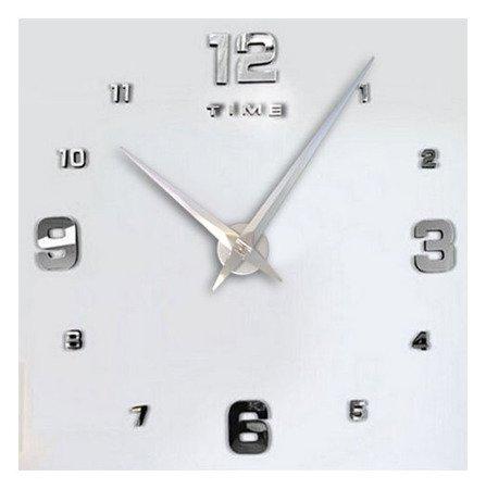 Zegar ścienny naklejany DIY srebrny lustro duży 110 cm DIY05S1