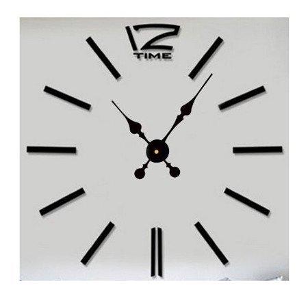 Zegar ścienny naklejany czarny DUŻY 100 cm DIY01B6