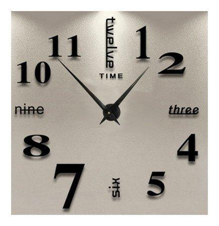Zegar ścienny naklejany czarny bardzo DUŻY 120 cm DIY02B2