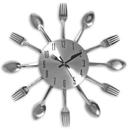 Zegar ścienny sztućce stal średni  30 cm ATE3047