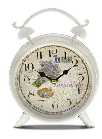 Zegar stojący METALOWY biały lawenda RETRO 77200