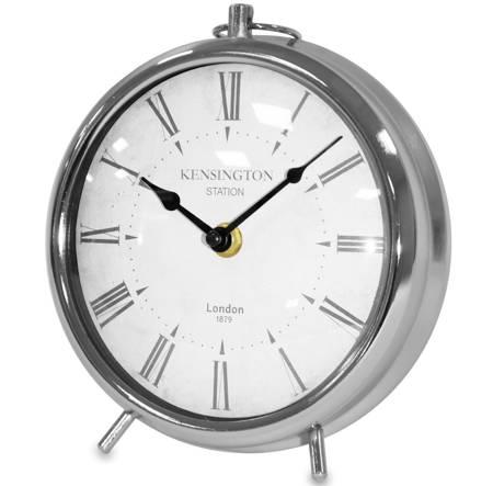Zegar stojący kominkowy METALOWY srebrny 117080