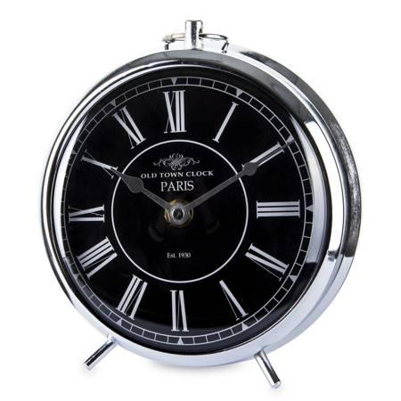 Zegar stojący kominkowy RETRO srebrnoczarny 132467